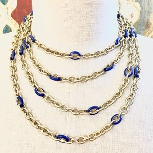 BANANA REPUBLIC set of 2 gold/blue chain necklaces